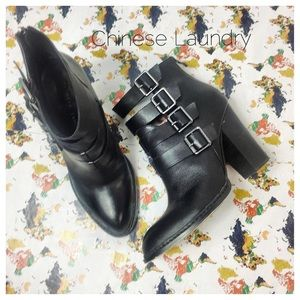 Chinese Laundry Gadget Leather Buckle Boots. Sz 10